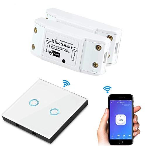 433 Mhz RF WiFi Smart Switch/Schalter,Wireless Remote Control Switch Modul mit Glasscheiben Switch kompatibel mit Alexa Echo Startseite Google-Assistent IFTTT Google Nest, Telefon-APP für iOS Android