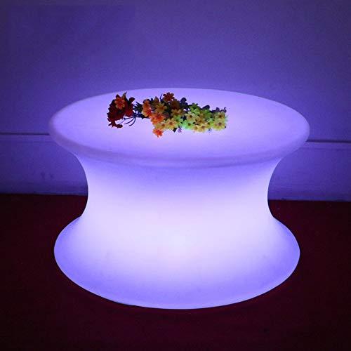 Ayanx Table Basse Salon avec Eclairage LED, Table Ronde Plastique avec 16 Couleurs Changeant avec Télécommande, Décoration pour Salon Bar Jardin et Imperméable