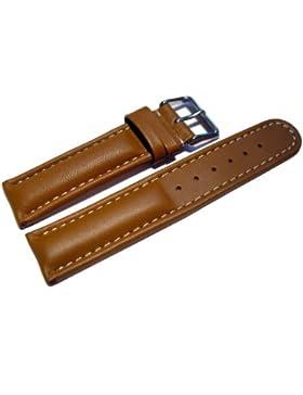 Uhrenarmband - Watchband Berlin - echtes Leder - Glatt - hellbraun - weiße Naht - 20mm