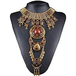 FENICAL Suéter Collares étnico Antiguo Bohemio Colgante Collar Largo suéter para Mujeres niñas
