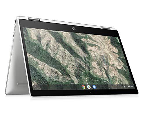 HP Chromebook x360 14b-ca0000ng (14 Zoll / Full HD Touchscreen) Convertible Laptop (Google Chrome OS, 18,8 mm flach, lange Akkulaufzeit, 2 x USB-C) silber