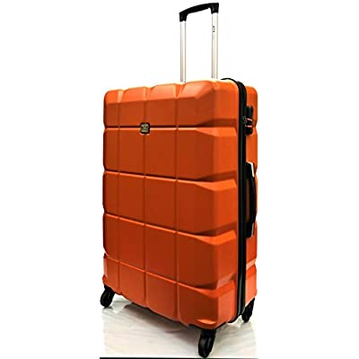 """28""""/75cm Large Super Lightweight Durable ABS Hard Shell Hold Luggage Suitcases Travel Bags Trolley Case Hold Check in Luggage with 4 Wheels Built-in 3 Digit Combination Lock (28"""" Large, Orange 111) - suitcases"""