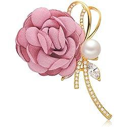 Epinki Joyería Chapado en Platino Broches para Mujer Flor Cinta Perla Rosa Broche