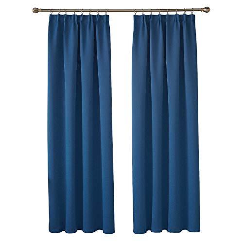 Deconovo Verdunkelungsgardinen mit Kräuselband Vorhang Blickdicht Gardinen Wohnzimmer 245x140 cm Blau 2er Set - Blau Wohnzimmer Für Vorhänge