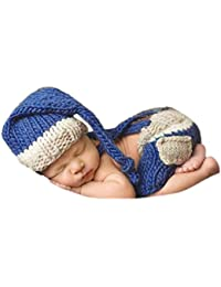 3tlg Fotoshooting Baby Fotografie Strick Mütze Kostüm Häkelkostüm Neugeborenen