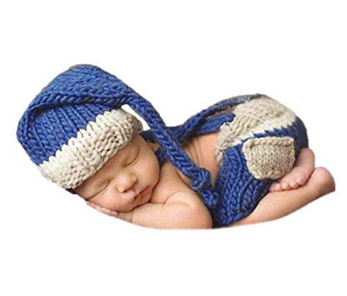 Happy Cherry Neugeborenes Baby Foto Kostüm Fotografie Prop Handarbeit Bekleidungsset Fotoshooting Stricken Kostüm für Baby Junge Trikot Foto Outfits Fotografie Requisiten Für 0-1 Monate - - Neugeborene Kostüm