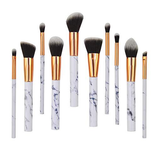 Kit Pinceaux Maquillage Professionnel, Fibre synthétique douce pour application uniforme de blush crèmes poudres contouring Makeup Brushes-10pcs