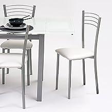 Silla de cocina metálica COLINA, con asiento tapizado PU blanco