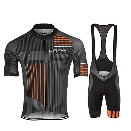 d.Stil Herren Radtrikot Set Kurzarm mit Sitzpolster für MTB Rennrad Fahrrad Jersey + Bib Shorts Radsportanzug M - XXXXL (Grau-Orange, L) Grau Bib