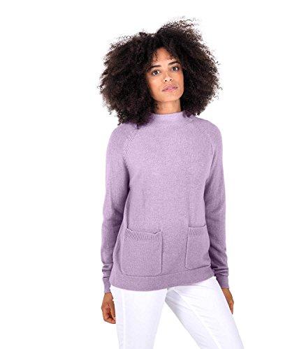 WoolOvers Pull à col cheminée avec poche - Femme - Cachemire & Mérinos Light Grape