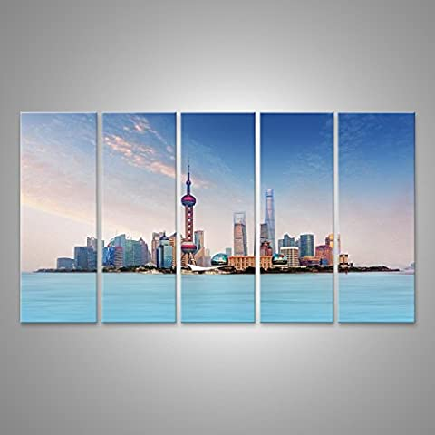 Tableau Tableaux sur toile horizon Shanghai - paysage urbain, Chine