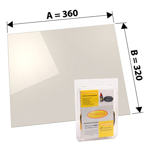Kaminglas und Ofenglas 360 x 320 x 4 mm   Temperaturbeständig bis 800° C   » Wunschmaße auf Anfrage «   inkl. 10 x 2 mm Kamindichtung