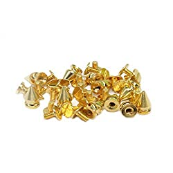 Trimming Shop Gold 7mm x 9.5mm Spike Cone Studs with Screwbacks for Leather Crafts, Decorative Fashion Accessories, Clothing, Bags, Punk and Goth Accessory, 50pcs