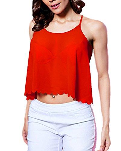LaoZan Femmes Débardeur sans Bretelles Chemisiers Blouses T-Shirt Haut Tops Décontracté Rouge