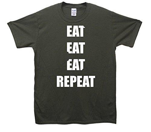 Mangiare Mangiare Mangiare ripetere maglietta Khaki