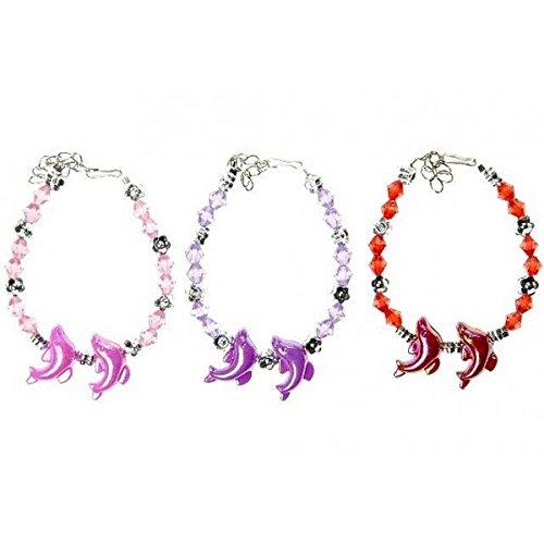 Lot de 5 Bracelet Dauphin Perle Enfant - Couleur Aléatoire - Cadeau Anniversaire Kermesse Bijoux Fille - 123