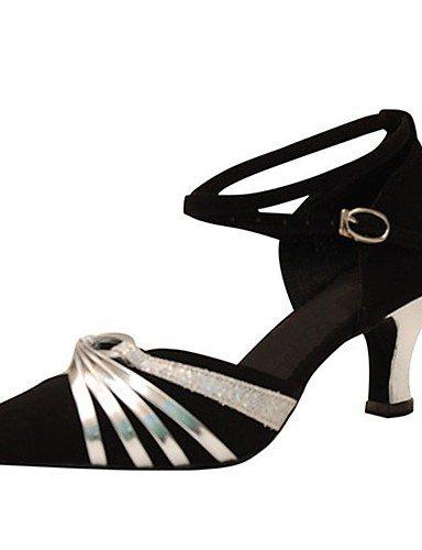 La mode moderne Sandales femmes personnalisables Chaussures de danse latine flocage/moderne/talons sandales talon intérieur personnalisé professionnel/noir US5/EU35/UK3/CN34