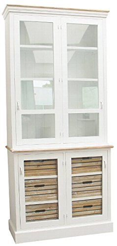 Casa-Padrino Country Style Display Cabinet Antique White/Natural 93 x 40 x H. 200 cm - Country Style Collection