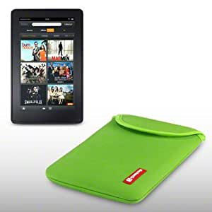 NEOPRENE POUCH WITH SHOCKSOCK LOGO FOR AMAZON KINDLE FIRE (NOT FIRE HD) - GREEN