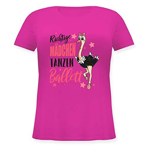 Tanzsport - Richtige Mädchen tanzen Ballett Strauß - M (46) - Fuchsia - JHK601 - Lockeres Damen-Shirt in großen Größen mit Rundhalsausschnitt