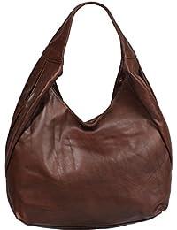 attractive marrón bolso de mano de cuero sobre el hombro Tita Marrone