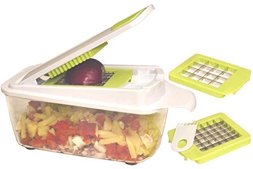 Salat Shredder (brieftons quickpush Food Choppers, weiß / grün, 3 Blades)