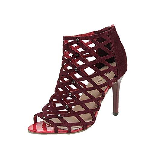 Sandalias mujer, Manadlian Sandalias de Gladiador de Mujer Moda Peep Toe Tacones altos Remache (CN:42, Vino rojo)