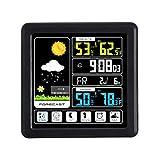 Chowcencen Voll Touchh Wireless-Wetterfarb Uhr Innen Außen-Temperatur-Feuchtigkeits-Messinstrument-Support Sieben Sprachen