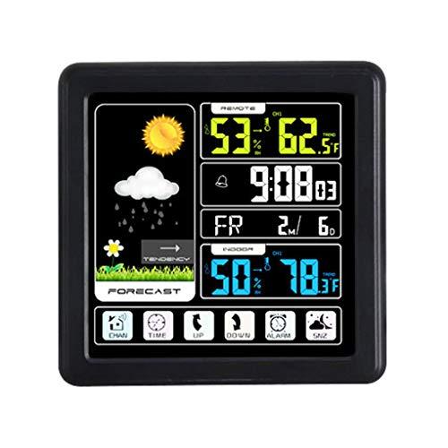 Pandiki Voll Touchh Wireless-Wetterfarb Uhr Innen Außen-Temperatur-Feuchtigkeits-Messinstrument-Support Sieben Sprachen
