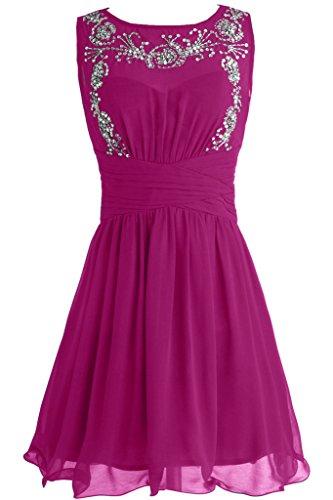 Sunvary Festlich Neu 2015 Chiffon Perlen Paillette Abendkleid Kurz Cocktailkleid Fuchsia