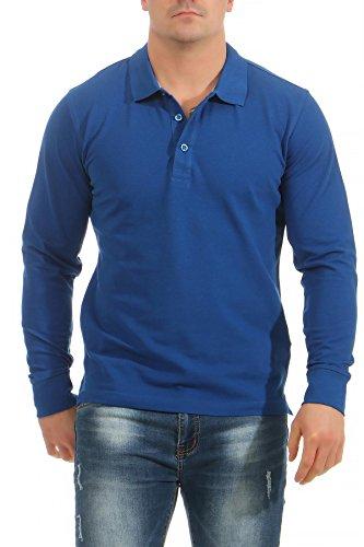 Mivaro Herren Langarmshirt Poloshirt Langarm Hemd Longsleeve Polo Shirt, Farbe:Blau, Größe:3XL