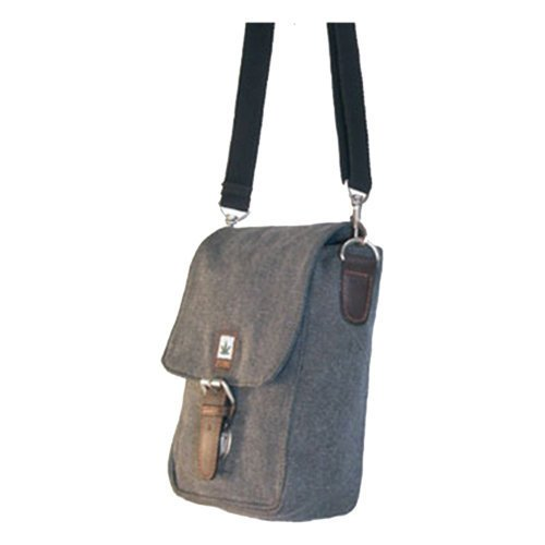 Hanf Messenger Tasche (PURE Hanf Baumwolle kombinierte Gürteltasche und Umhängetasche HF-0012, H21 x B14,5 x T8, Grau)