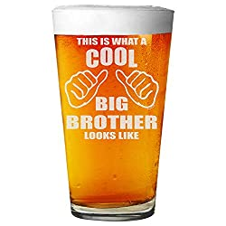 """Shop4Ever Bierglas mit Lasergravur, Aufschrift """"This Is What A Cool Big Brother Looks Like"""" 16 oz. farblos"""