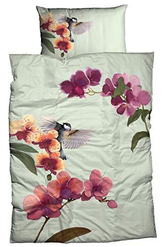 Reine Orchidee (Casatex Bettwäsche GRACIOSA hautfreundlich 100% Reine Baumwolle floraler Panneaux Druck Orchideen Kolibri 135 cm x 200 cm lindgrün)