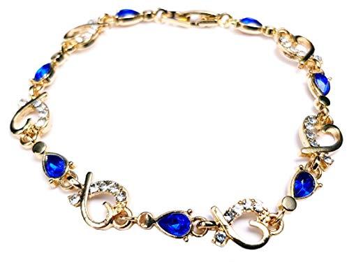 Herz Armband 18 Karat vergoldet Zirkonia Kristalle