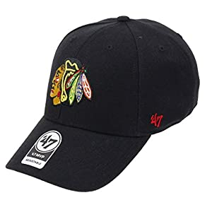 47 Brand – Chicago Blackhawks – Adjustable Cap – Mvp – Nhl – Black – One-Size