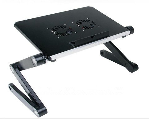 Portable réglable en Aluminium pour Ordinateur Portable Computer Desk/Support/Table ventilé W/CPU Ventilateurs Notebook-macbook-Ultra lumière Poids Ergonomique Lit TV Plateau Stand Up/Assis