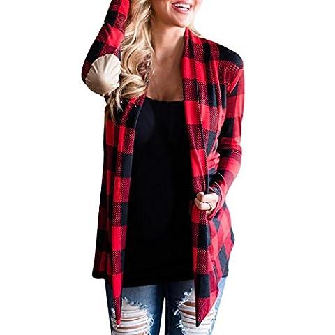 Femme Cardigan, Feixiang personnalisation Exclusive Mode Femme Grid Plaid ouvert Cape décontractée Manteau ample Chemisier Kimono Veste Cardigan XL