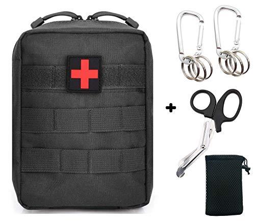 SEVENPICKS EMT Pouch Tactical MOLLE Medizinische Erste Hilfe Ifak Utility Pouch mit Karabiner/Schere/Pfeife Feuerstein (Balck) -