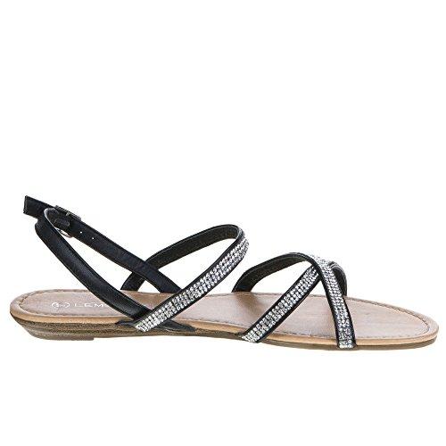 Chaussures, a4185, sandales Noir - Noir