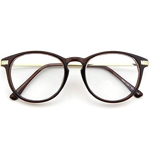 CN92 Klassische Nerdbrille rund Keyhole 40er 50er Jahre Pantobrille Vintage Look clear lens,Braun