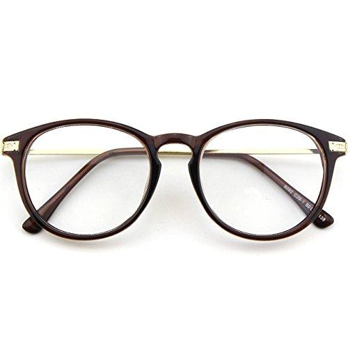 fake brille CN92 Klassische Nerdbrille rund Keyhole 40er 50er Jahre Pantobrille Vintage Look clear lens,Braun