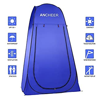 ANCHEER Pop Up Portable Camping Shower Tent Toilet Tent for Outdoor Beach Camping Dressing Fishing Bathing (blue)