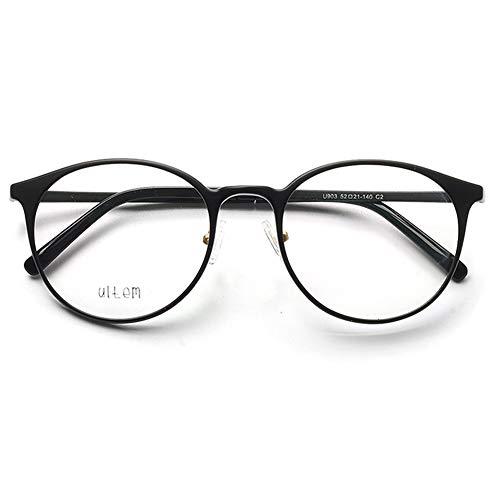 VEVESMUNDO Brillen ohne sehstärke Damen Herren Brillengestelle Brillenfassung Große Retro Rund Vintage TR90 Fakebrillen Deko Brille Streberbrille Nerdbrille Pantobrille mit Brillenetui (Matt Schwarz)