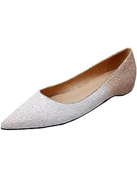 HooH Donna Flats Scarpe a punta Paillettes Gradient Bianco Ballerine Matrimonio Scarpe Slip On