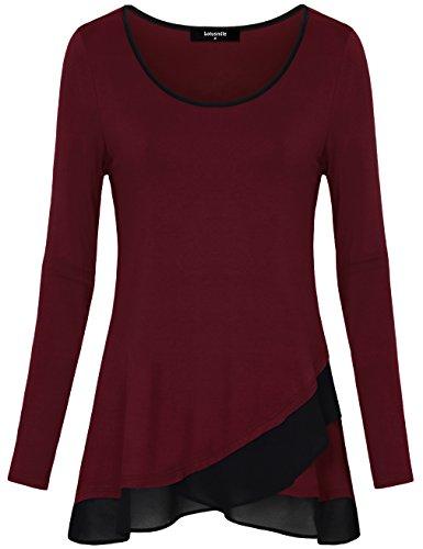Langarm Tunika Tops, Lotusmile Freizeit Bluse mit Rundhals Ausschnitt A-Linie Vintage Chiffon elastisch Bluse Shirts,Weinrot M