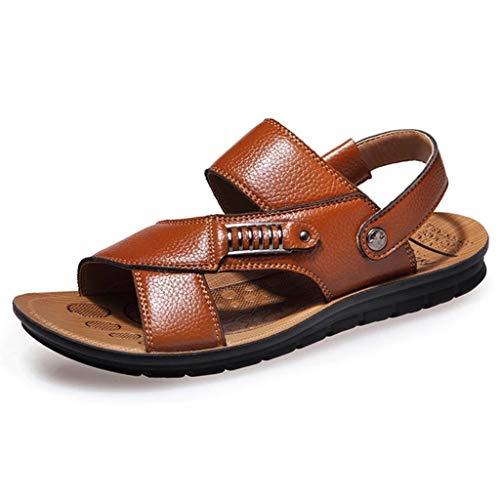Aoogo Herren Ledersandalen Offene Zehe Sommer Atmungsaktive Schuhe Bequeme Strand Sandalen Hausschuhe Flip-Flops