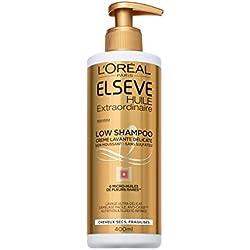 Elsève Low Shampoo Crème Lavante Nutritive pour Cheveux Secs 400 ml