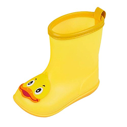 Infant Kids Children Baby Rainboot Shoes Lovely Cartoon Duck Rubber Anti-Slip Boots with Waterproof PVC Cloak Yellow