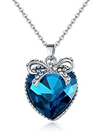 Jewels Galaxy Crystal Elements Limited Edition Delicate Love Heart Design Royal Blue Brilliant Platinum Plated...